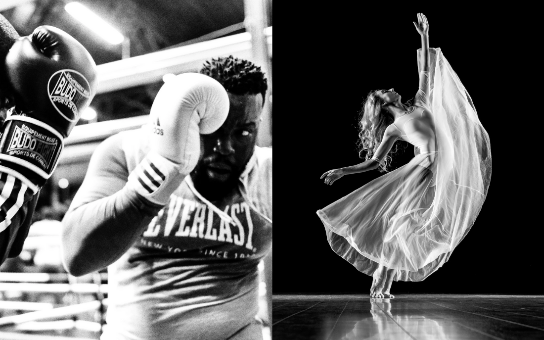 black and white photo side by side comparison of athletes - boxing and dancing