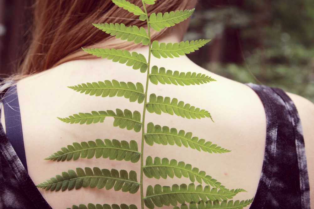woman with red hair holds a fern leaf in front of her back